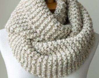 Knit scarf, chunky knitted infinity scarf in Pale Brown or Beige .