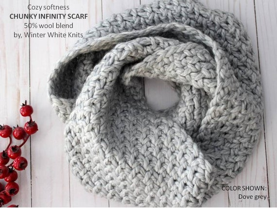 Infinity Scarf Chunky Knit Scarf Knitted Scarves circle | Et