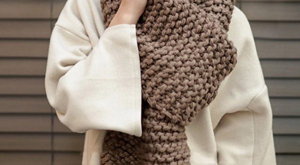 Women Winter Solid Colors Rough Knitted Scarves Outdoor Thick Warm .