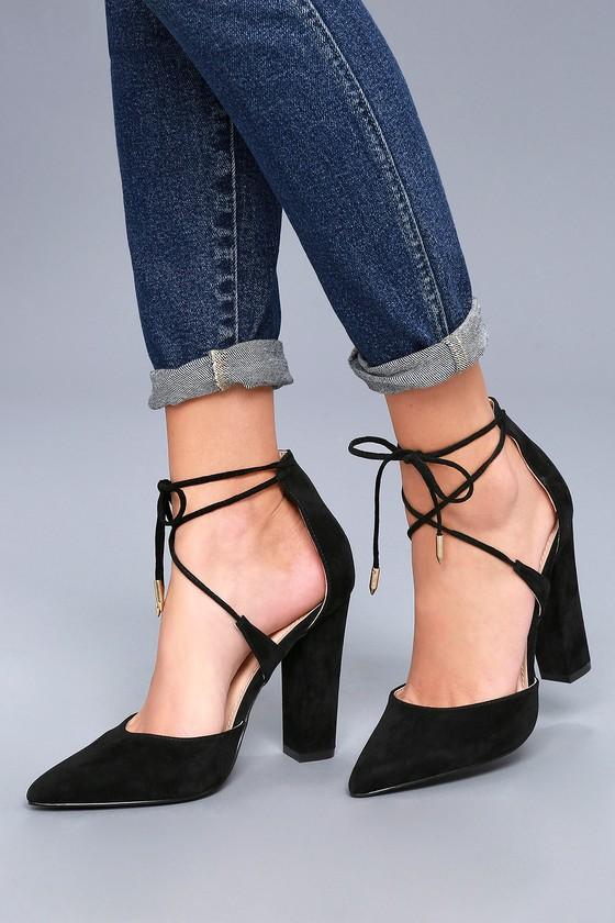 Chic Lace-Up Heels - Vegan Suede Heels - Black Hee