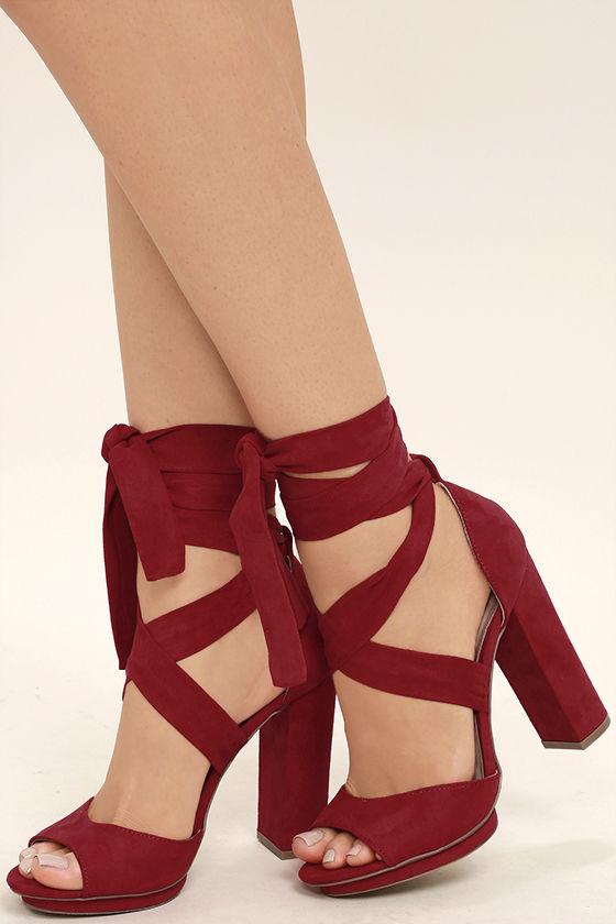 Lovely Dark Red Heels - Lace-Up Heels - Vegan Suede Heels - $33.
