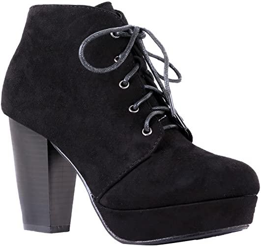 Amazon.com | Women's Ankle Boots Lace Up Block Chunky Heel Dress .