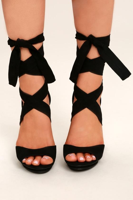 Lovely Black Heels - Lace-Up Heels - Vegan Suede Hee