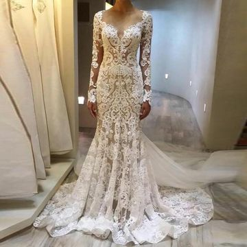$253.99 Round Neck Long Sleeves Mermaid 2020 Lace Wedding Dress .