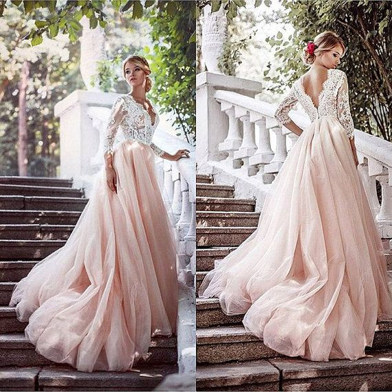 Blush pink wedding dress, Pink wedding dress, Blush wedding dress .