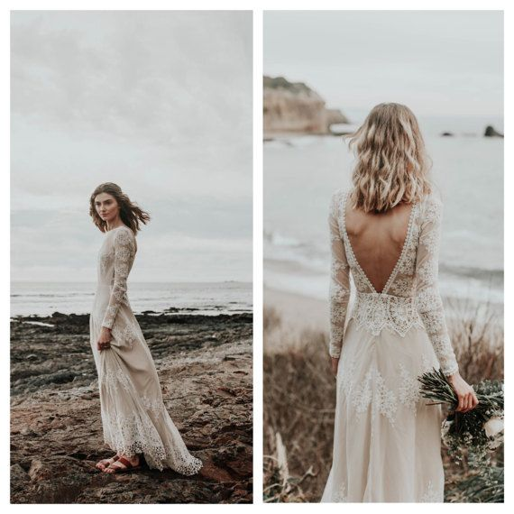 A FAVORITE Lisa Lace Bohemian Wedding Dress | Cotton Lace with .