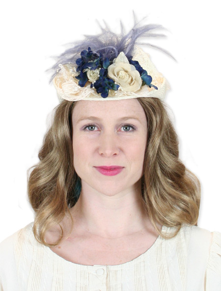 Victorian Ladies Hat - Ivory and Antique Bl