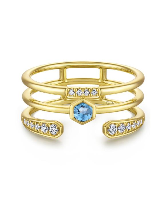 14k Yellow Gold Fashion Stackable Swiss Blue Topaz Ladies Ring .