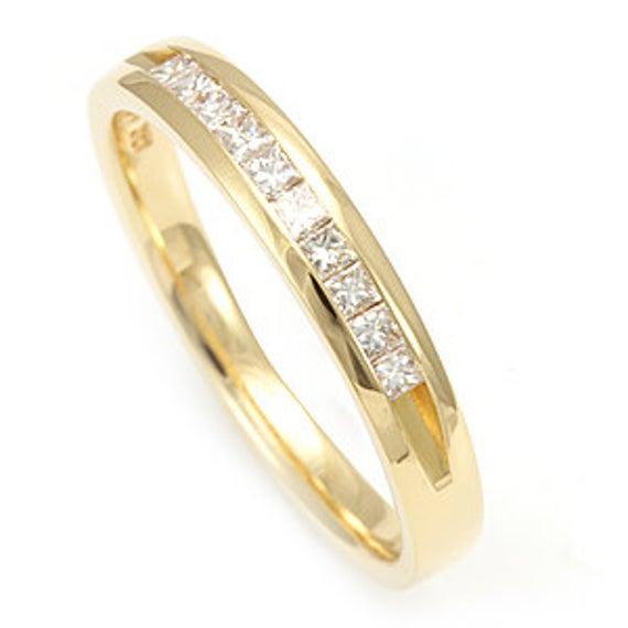 Princess Cut Diamond Ring Band 14K White Gold Ladies Ring | Et