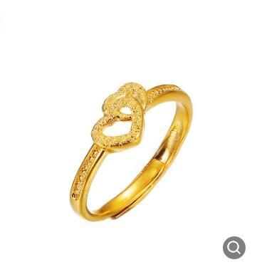 Ladies Ring Gold Plated Vietnamese Gold Retro Double Heart Ring .