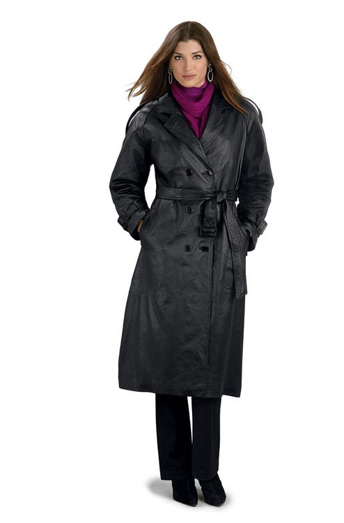LeatherCoatsEtc Ladies Classic Double Breasted Leather Trench Co