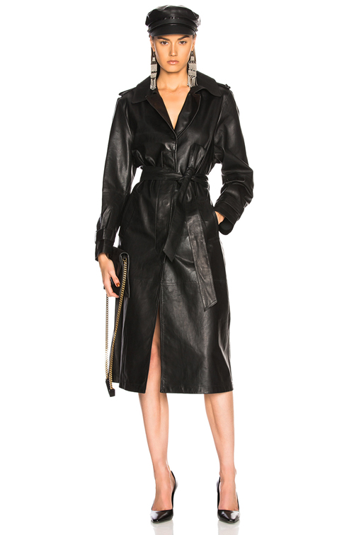 Palmer Girls x Miss Sixty Leather Trench Coat in Black | FW
