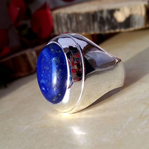 Amazon.com: Lapis Lazuli Men's Ring, Big Lapis Ring, 925 Sterling .