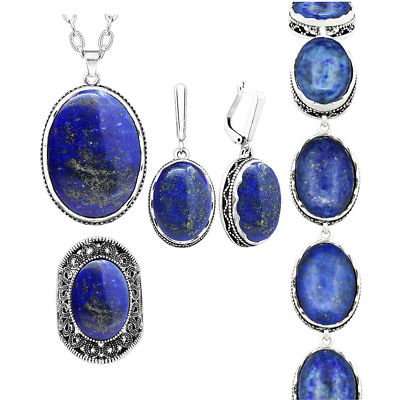 Natural Stone Lapis Lazuli Jewelry Set Necklace Earrings Ring .
