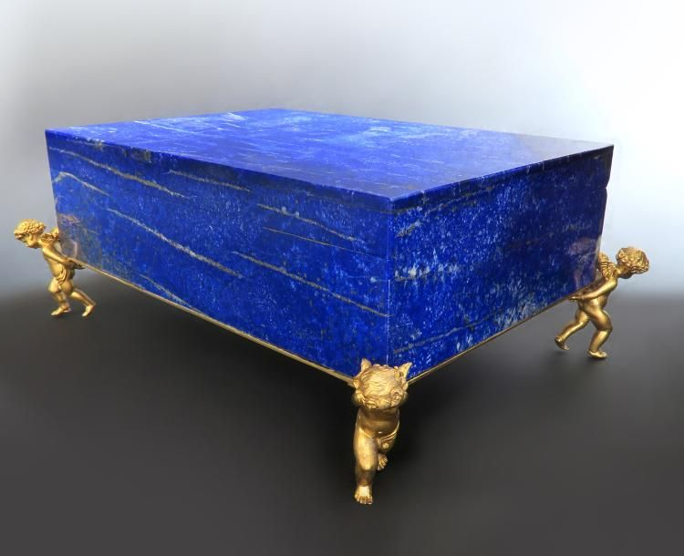 Large Figural Bronze & Lapis Jewelry Box | Lapis jewelry .