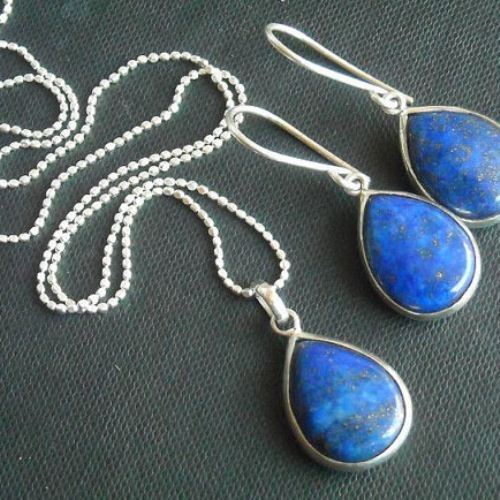 Buy lapis lazuli pendant earrings set - tear drop denim blue .