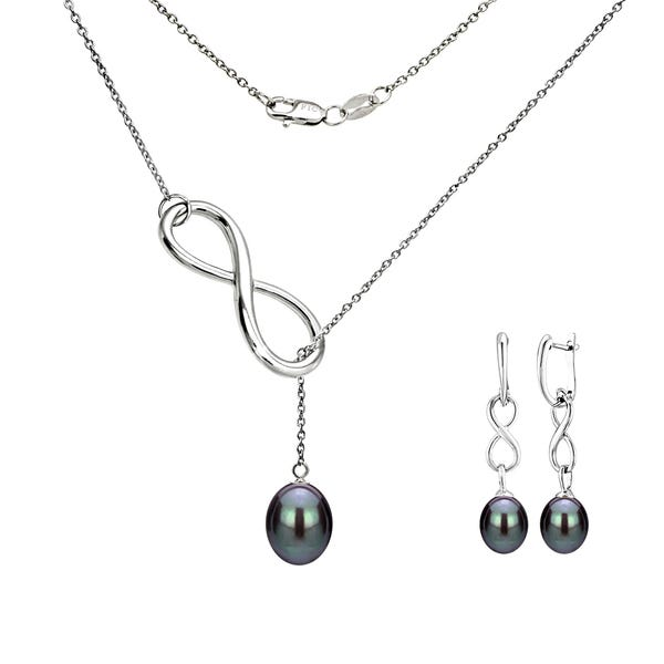 Shop DaVonna Sterling Silver pearl Pendant Infinity Lariat .