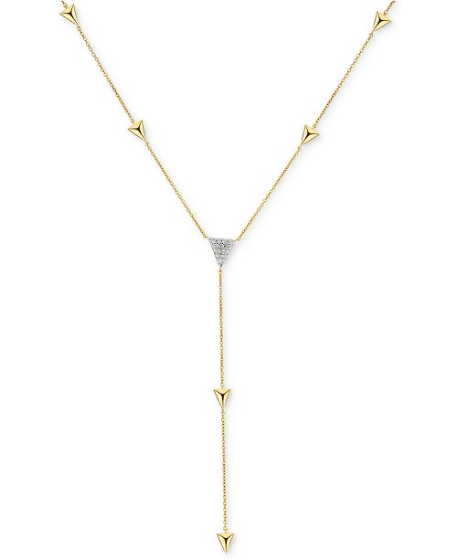 Macy's Diamond Triangle Lariat Necklace (1/4 ct. t.w.) in 14k Gold .