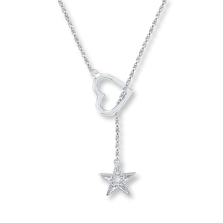 Star Lariat Necklace Diamond Accent Sterling Silver | Womens .