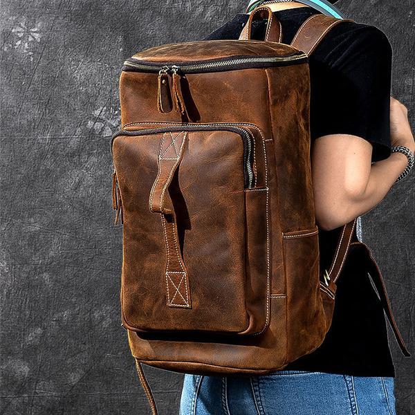 Crazy Horse Leather Men Travel Backpack Large Tote Travel Bag Men .