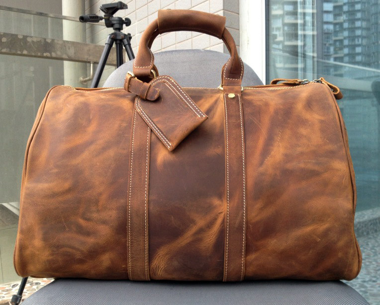 Large Travel Bag / Genuine Leather Briefcase / Men Leather Bag .