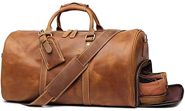 Amazon.com: Leathfocus Leather Travel Luggage Bag, Mens Duffle .