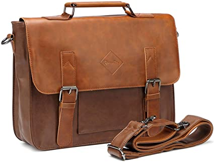 Amazon.com: Zebella Men Vintage PU Leather Briefcase 15 inch .