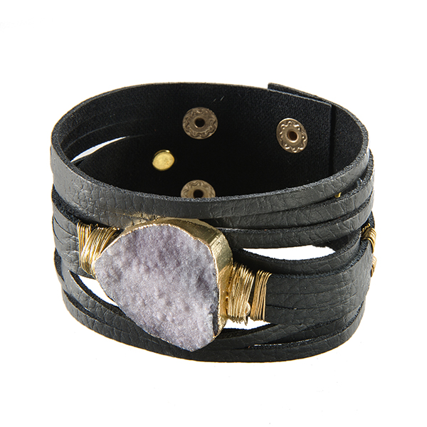 Gray faux leather cuff bracelet with a gray wire wrapped druzy .