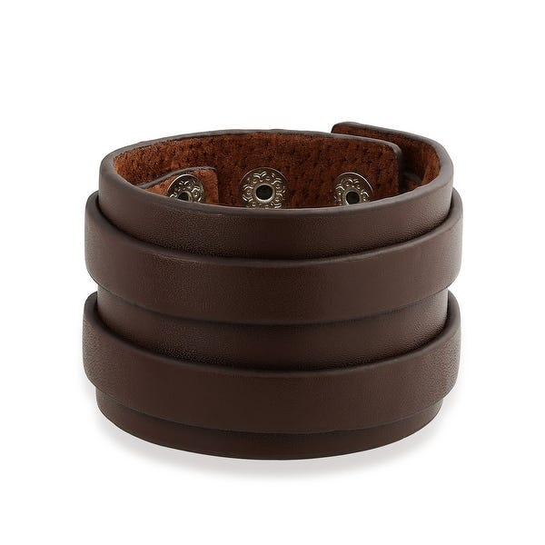 Shop Genuine Brown Leather Wide Two Strap Cuff Bracelet For Men .