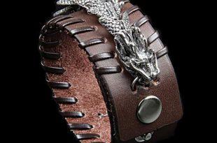 Celestial Dragon Genuine Leather Cuff Bracelet - Fandu