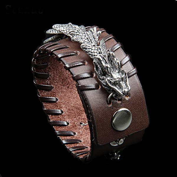 Celestial Dragon Genuine Leather Cuff Bracelet - Fandu