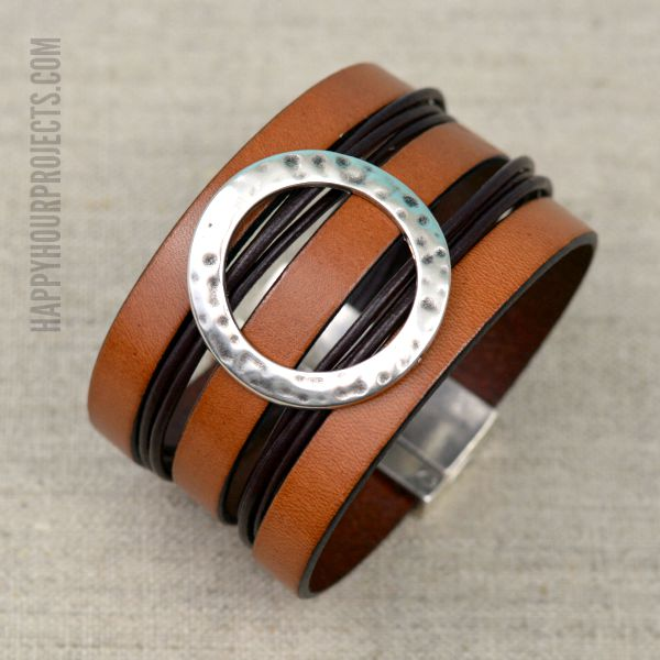 Wide DIY Leather Cuff Bracelet - Happy Hour Projec