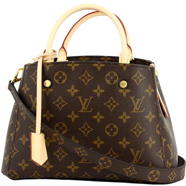 ACROSS: LOUIS VUITTON Montaigne BB M41055 Brown Leather Handbag .