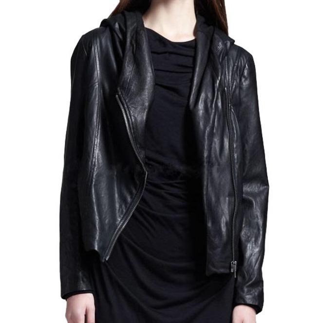 Women Black Hooded Leather Jacket, Leather Jackets, | RebelsMark