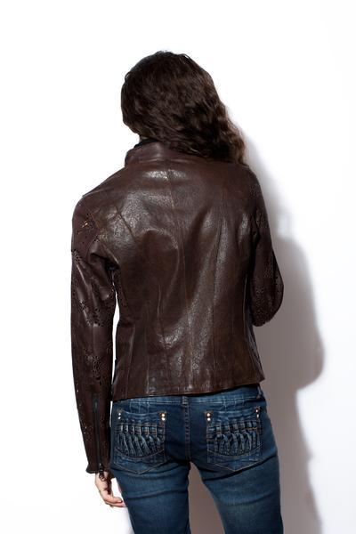 Women's Dark 8 Laser Cut Brown Leather Jacket – West Coast Leath
