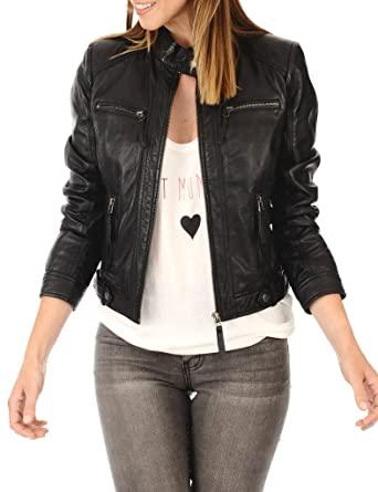 Excentoutwear Women's Lambskin Leather Bomber Biker Jacket at .