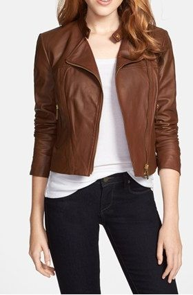 Women Genuine Leather With Zipper Closure - Brown | Leather jacket .
