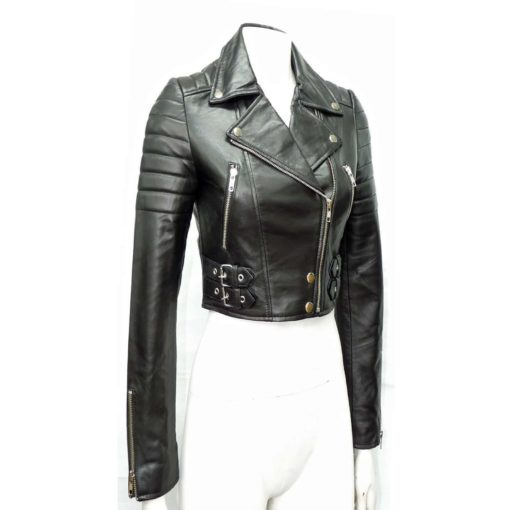 Cropped Biker Leather Jacket for Women | Made to Measure - Kilt .