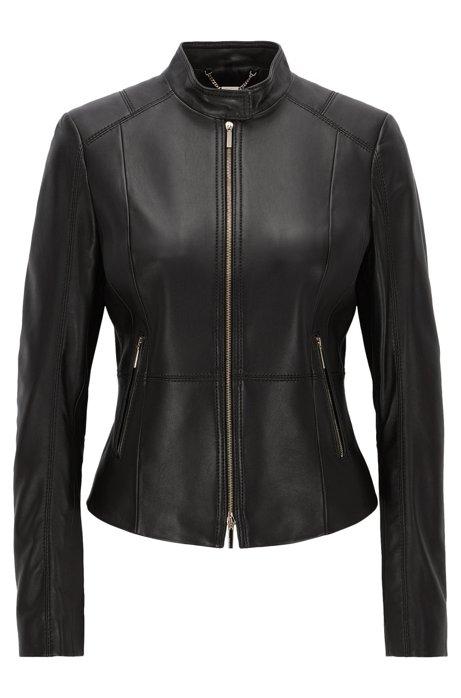 Hugo Boss Black Lambskin Leather Jacket : Hugo Boss Online Store .