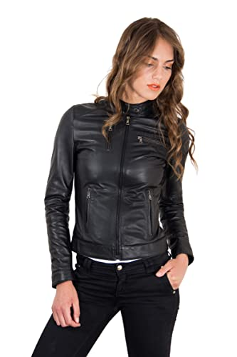 Amazon.com: Women's Italian Leather Jacket Black Genuine Lamb .