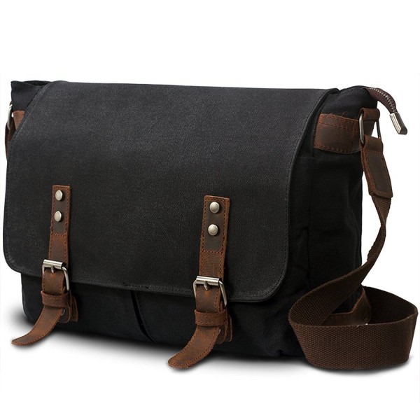 Mens Canvas Leather Laptop Messenger Bag Shoulder Crossbody Bag .