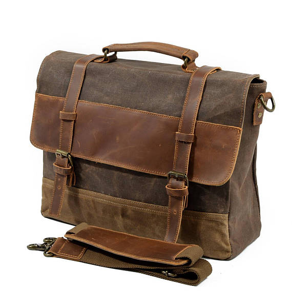 Leather Messenger Bag, Waxed Canvas Messenger Bag, Mens Laptop .