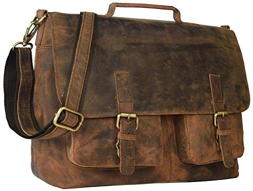 "kk's 18"" Inch Retro Buffalo Hunter Leather Laptop Messenger Bag ."