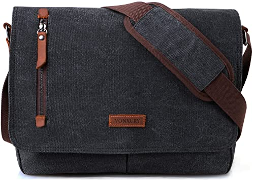 Amazon.com: Messenger Bag for Men and Women, Canvas Leather 14 .