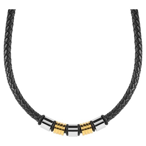 Men's Crucible Two-Tone Braided Leather Beaded Necklace : Targ