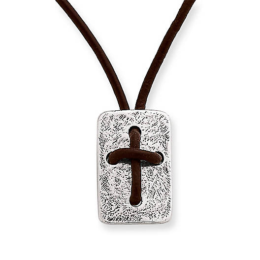 Leather Cross Shield Necklace - James Ave