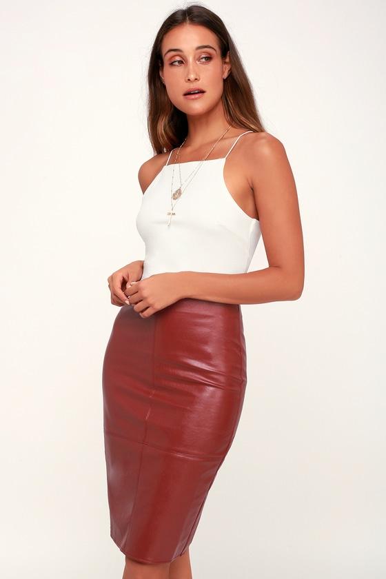Chic Wine Red Pencil Skirt - Leather Skirt - Vegan Leather Ski