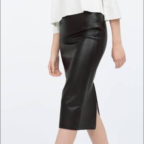 Zara Skirts | Midi Faux Leather Pencil Skirt Xs Blue | Poshma