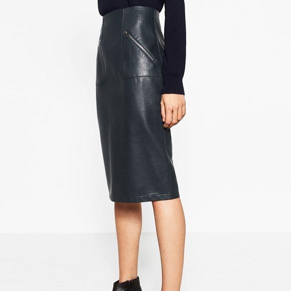 Zara Skirts | Faux Leather Pencil Skirt | Poshma