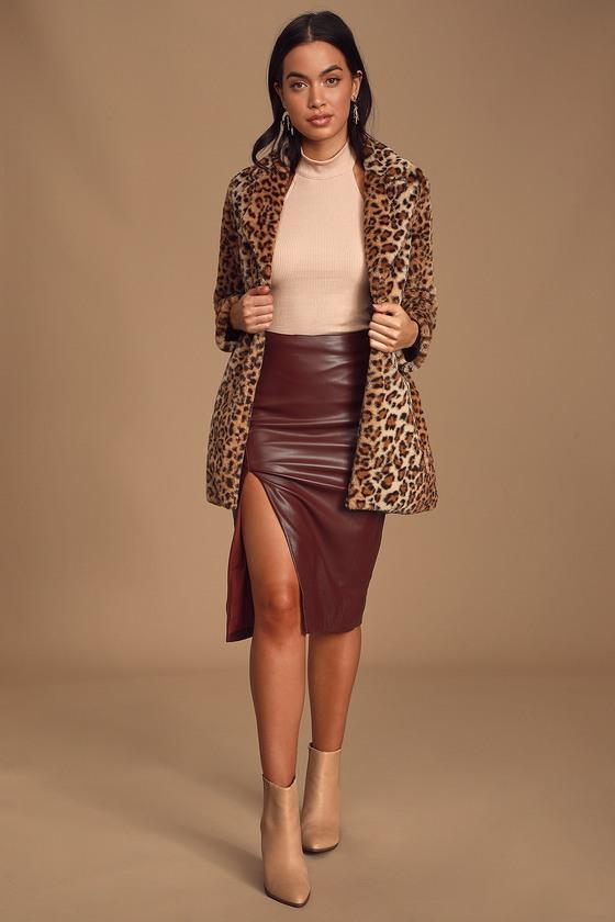 Chic Wine Red Skirt - Pencil Skirt - Vegan Leather Pencil Ski